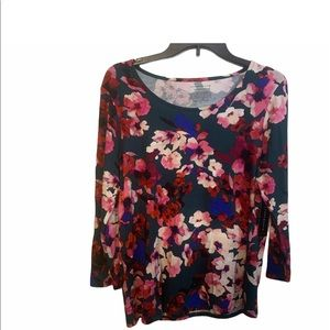 Investments women's medium red floral print shirt